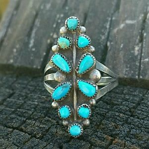 Vintage Turquoise Sterling Silver Ring Sz 8.5